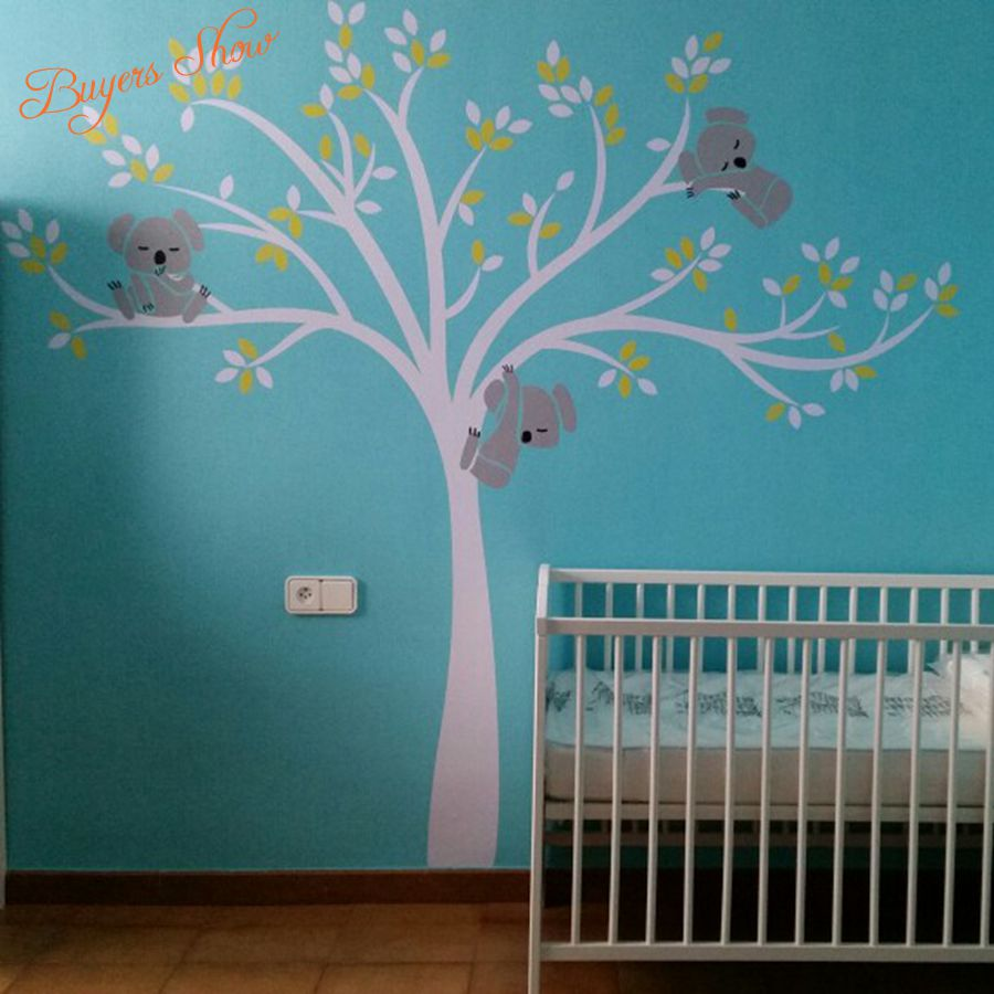 tree wall decal picture more detailed picture about free free shipping oversized large koala tree wall decals for baby nursery baby nursery vinyl wall