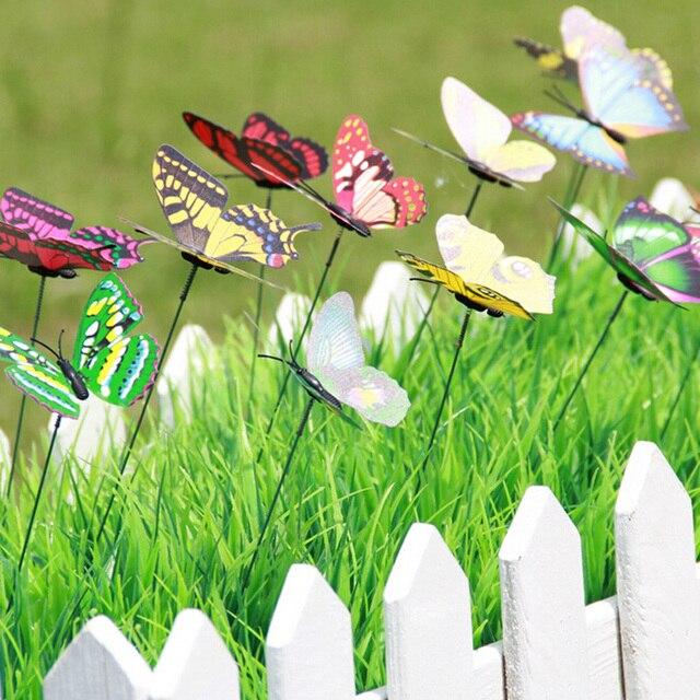 10Pcs/Set Beautiful Butterfly On Sticks Garden Decoration Vase Lawn Craft  Art DIY Decoratio 2017
