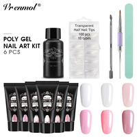 Vrenmol 6pcs Poly Gel Set Polygel Quick Builder Fast Extension Camouflage Nail Slip Solution Double Head Brushes Pen