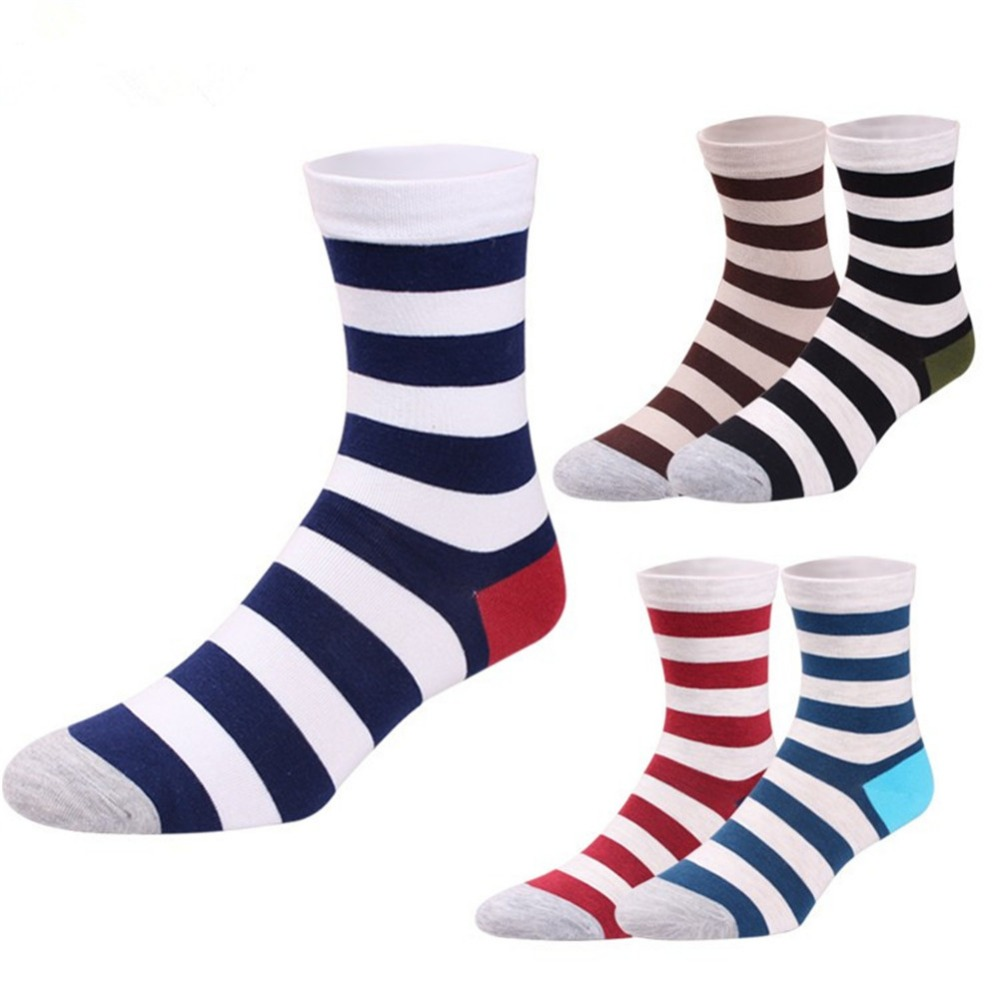 1 pair Brand men Striped Socks Cotton casual male long socks spring male men crew socks men cotton dress socks