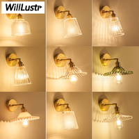 Nordic wall lamp luxury brass base clear pressed glass shade dinning room hotel restaurant light vintage crystal wall sconce