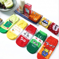 3 pairs/set Random send Japanese cuisine style boys and girls summer home socks Cartoon picture design different colour cotton