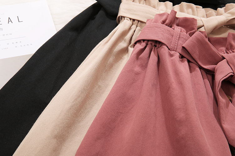 FATIKA High Waist Midi Skirts Solid Pockets A-Line Casual Ladies Bottoms Trendy Female Skirts With Sashes 19 Hot New For Women 16