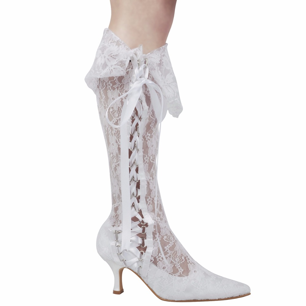 White Ivory Women's Boots Knee-high Calf Mid Heel Wedding Bridal Shoes Lace-up Bride Bridesmaids Ladies Party Dress Pumps MB-081