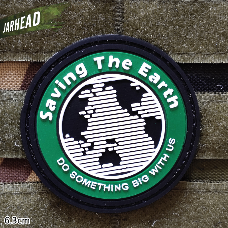Saving The Earth Military Pvc Patches Velcro Rubber Armband Tactical Badge Personality For Backpack Hat Clothes Jacket