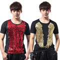 2016 New Fashion Male Slim Sequins Stage Performance short sleeve T-shirt Nightclub bar DJ male singer costumes Show stage wear