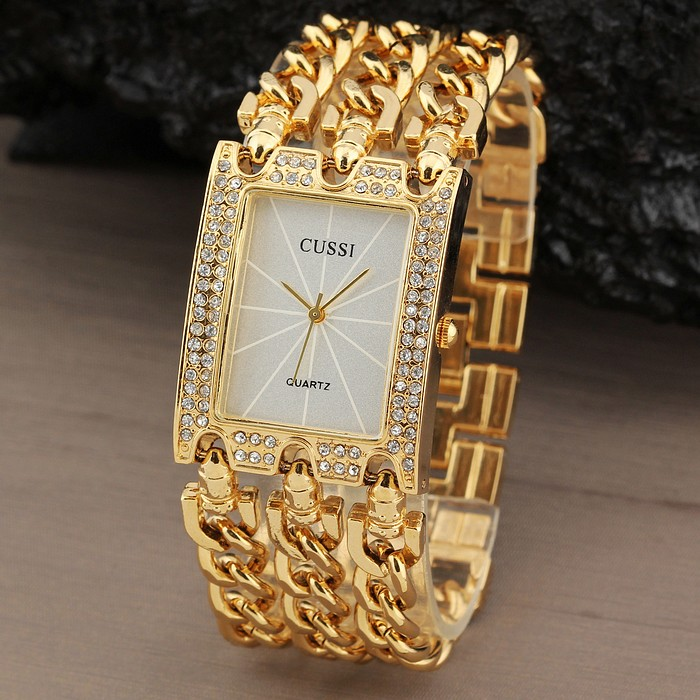 New Women Watch Luxury Wrist Watch Analog Quartz Watches Stainless Steel Fashion Rhinestone Bracelet Three Chains Gifts Gold