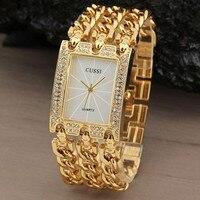 Nuevo Reloj de Lujo de Reloj de Pulsera de Cuarzo Analógico Relojes de Moda Rhinestone Pulsera de Acero Inoxidable de Tres Cadenas de Regalos de Oro