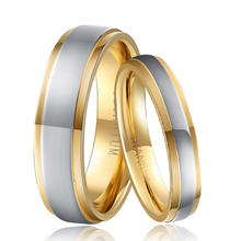 1 Pair Gold & Silver Color Pure Titanium Wedding Rings Set for Couples Lovers 4mm for Male 6mm for Female Vintage Jewelry Ti040R