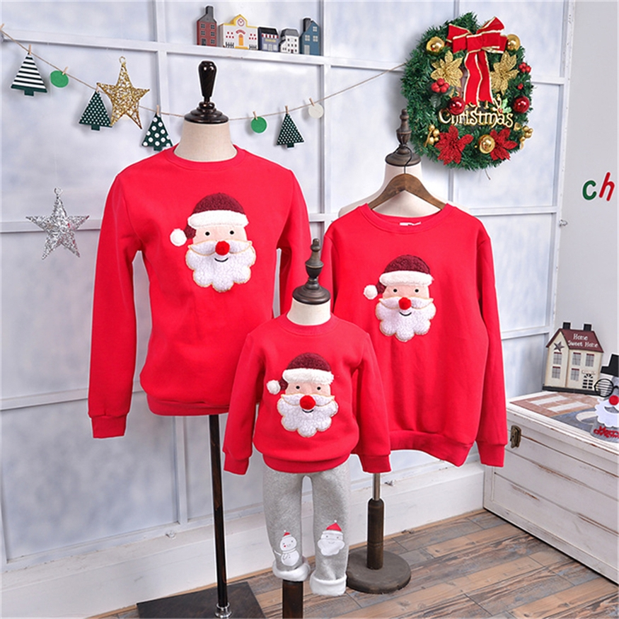 2019 Christmas Family Matching Sweatshirt Red Santa Claus Elk Mom and Daughter Velvet Clothes 1-12 New Years Family Look