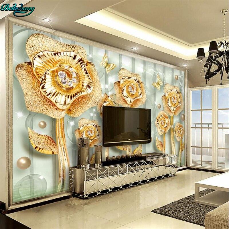 beibehang Large custom wallpaper Golden jade full house luxury ...