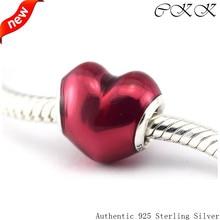 Violet Enamel Heart Beads 100% 925 Sterling Silver In My Heart Charm Beads for Jewelry Making Fit Bracelets Diy PF335