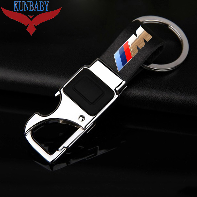 KUNBABY Metal Leather Car Key Chain Ring Holder With LED Bottle Opener Multifunctional Tool For BMW M cute small house lizard bottle opener key chain random one