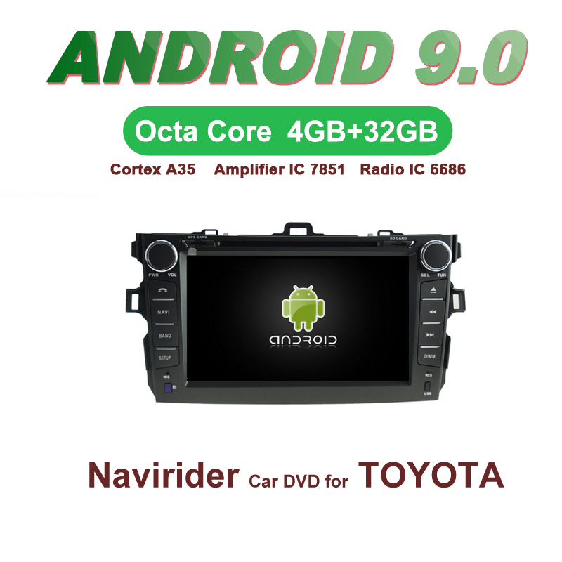ELANMEY car gps navigation For <font><b>Toyota</b></font> <font><b>Corolla</b></font> 2009 <font><b>2011</b></font> octa core android 9.0 touch screen CAR DVD <font><b>multimedia</b></font> radio headunit image