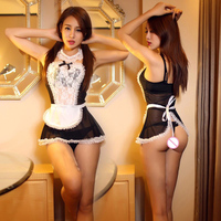 Hot Women France Style Sexy Maid Costume Lace Headband Small Flouncing Skirt Dress T Pant Collar