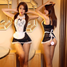 Hot Women France Style Sexy Maid Costume Lace Headband +Small Flouncing Skirt Dress +T-pant+Collar+2 Bracers Erotic Lingerie