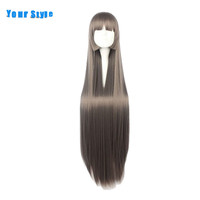 Your Style 100cm Brown Long Straight   Cosplay     Wigs   Party Costume Womens Natural Hair   Wig   Synthetic High Temperature Fiber