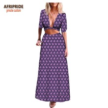 2018 summer african 2-pieces skirt set for women AFRIPRIDE half sleeve crop top+ankle length casual A1826022