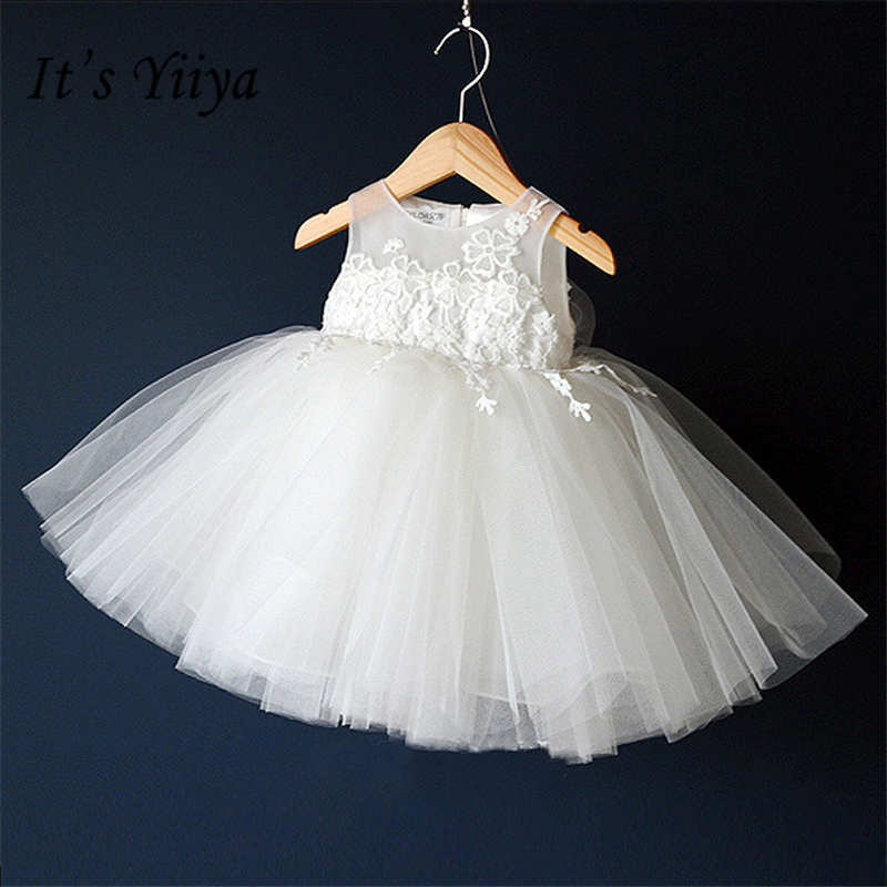 It's yiiya Simple White   Girl     Dresses   Cute Princess Ball Grown Fashion O-neck Sleeveless   Flowers     Girls     Dress   TYL008
