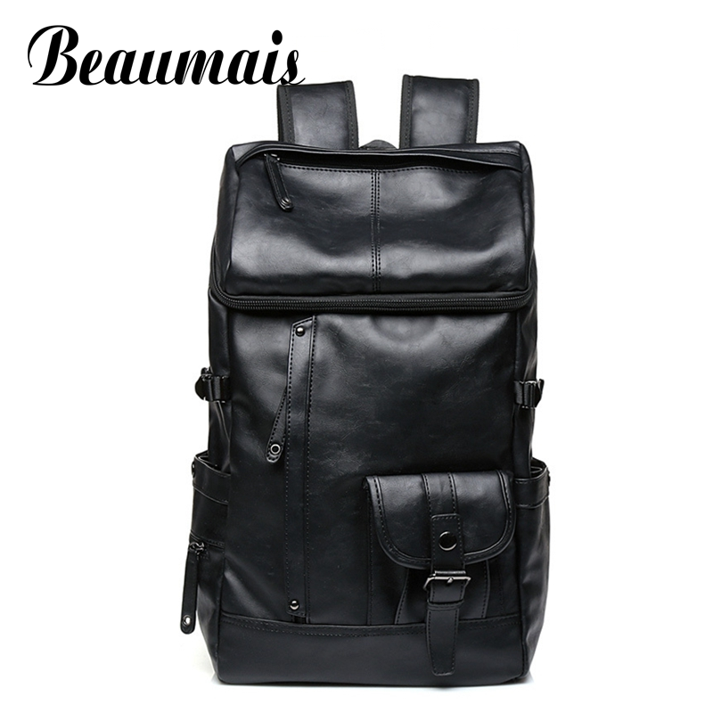 Beaumais Pu Leather Backpack School Bags For Teenager College Men Travel Mochila Loptop Backpacks Rucksack Shoulder Bags DB6092 beaumais 2017 genuine leather women backpacks school bags for teenager girls leather backpack shoulder bag travel mochila db6067
