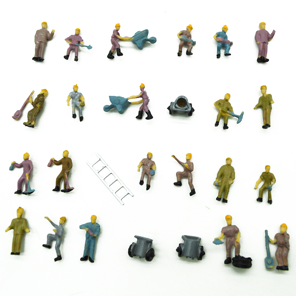 25pcs architectural model workers 1:87 miniature railway workers with ladders