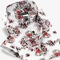 100% Хлопок Марка Мужчины Цветочные Повседневная Рубашка С Коротким Рукавом Британский Стиль распечатать Slim Fit Мужской Мальчики Рубашки Плюс Размер 4XL Летом