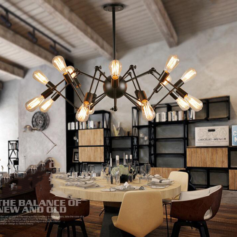 2017 Loft Restaurant Bar America country Iron Chandelier Vintage expansion office room chandelier spider free freight