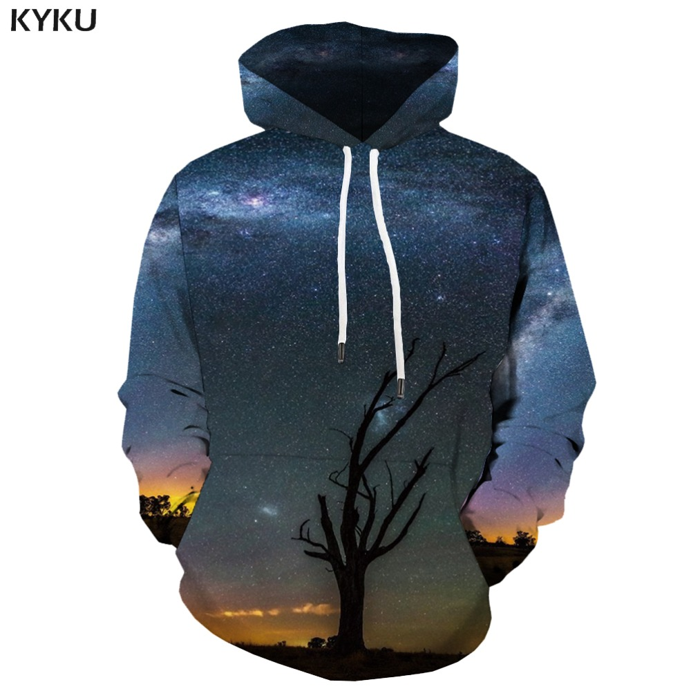 KYKU 3d Hoodies Galaxy Space Hoodie Men Tree 3d Printed ...