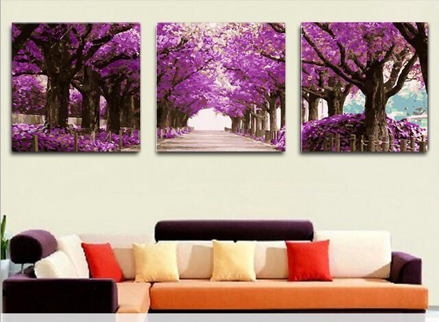 NO frame 100% Hand Painted Modern Abstract Oil Painting On Canvas Picture 3 Panel Wall Art Home Decor Purple flower