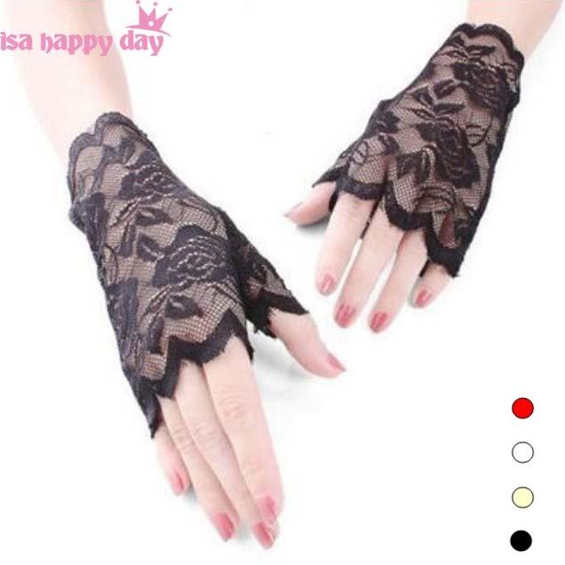 Bride Lace Wedding Gloves Black Ivory White Red Fingerless Short Wedding Accessories Women Bride Gloves For Wedding 2019 New