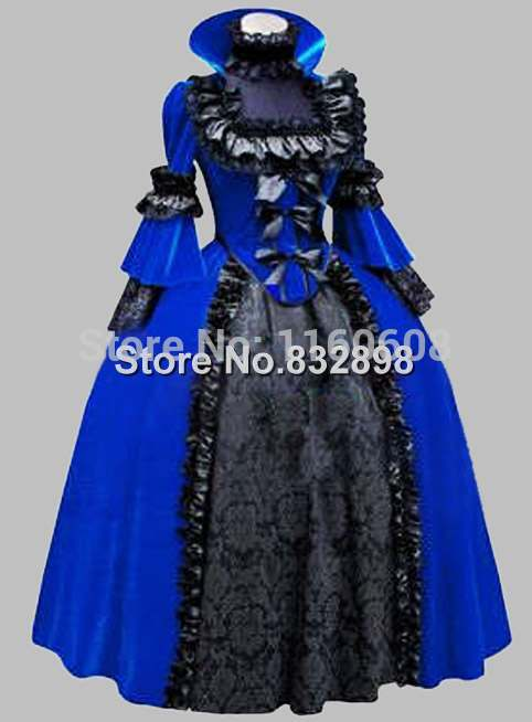 Deluxe Gothic Blue and Black Pleuche Jacquard Noble Victorian Era Dress