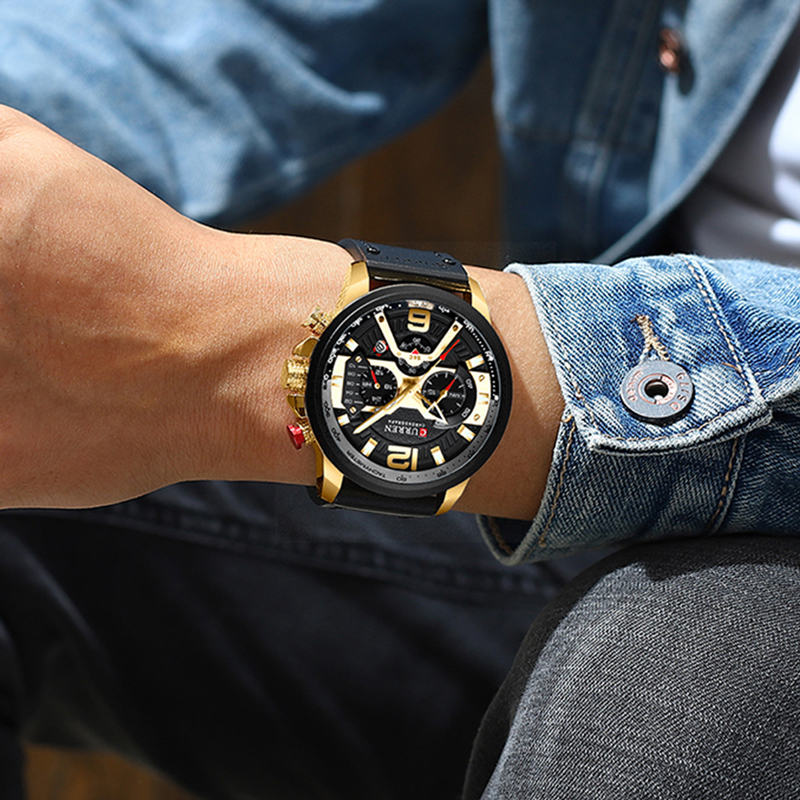 Wristwatch Mens CURREN 2019 Top Brand Luxury Sports Watch Men Fashion Leather Watches with Calendar for Men Black Male Clock 4