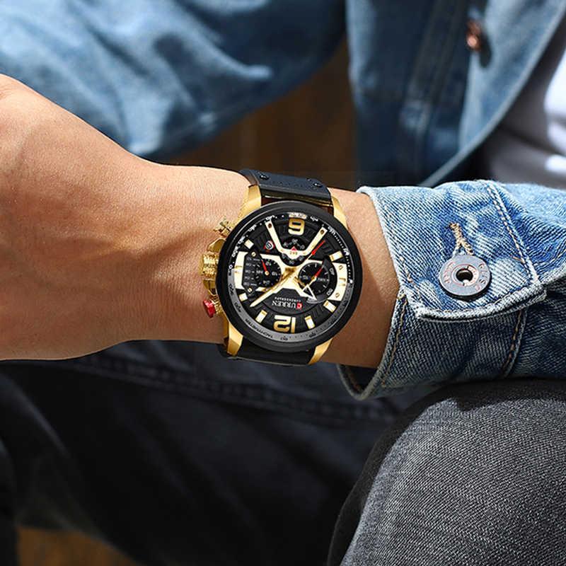손목 시계 망 CURREN 2019 최고 브랜드 럭셔리 스포츠 시계 남자 패션 가죽 시계 남자 달력 블랙 남성 시계