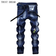 2018 Fashion Europeans Style Men Embroidery Slim Blue Jeans Scratched Personal Man Casual Street Club Street Quality Jean