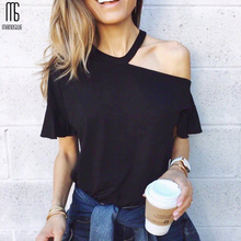 Manoswe Sexy One Shoulder T Shirts Women Fashion Butterfly Sleeve Black Shirt Tops Summer Casual Halter Party Tee 2019