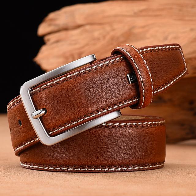 Fashion Men Belts Genuine Leather Luxury Designer Brown Vintage Waist Belt
