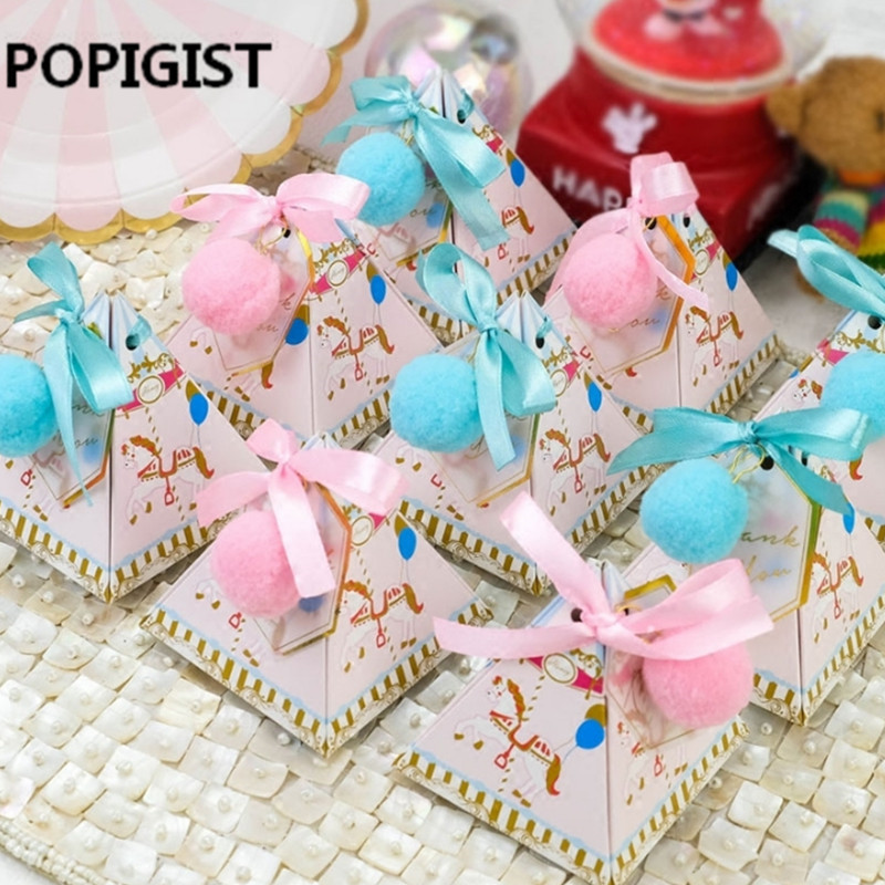 Triangular Christening Baby Shower Blue/Pink Cartoon Horse Candy Boxes With Ribbon & Tags & Balls Baptism Party Gift Box 10pcs