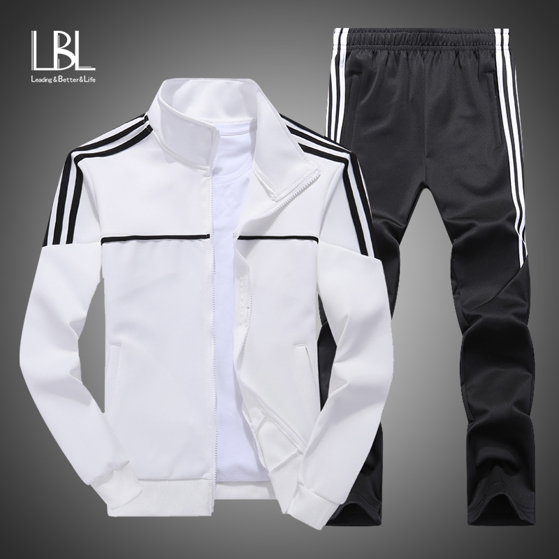 New Men's Set Spring Autumn Man Sportswear 2 Piece Sets Sports Suit Sweatshirt+Pant Sweatsuit Male Tracksuit Plus Size L-4XL