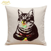 Wholesale Cute Cats Printed Cushion Cover Square Cotton Linen Pillow Covers Sofa Seat Chair Car Decorative