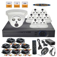 8CH 달리 720 마력 DVR 8 개 1.0MP 배열 IR 4 미리메터 렌즈 실내 금속 돔 카메라 시스