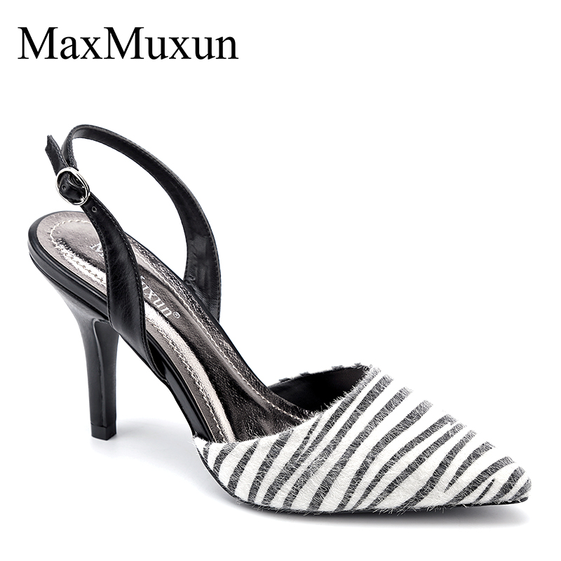 MaxMuxun High Heels Slingback Classic Sandals Thin Heels Pointed Toe Summer Elegant Party Wedding Dress Pumps Shoe For Female