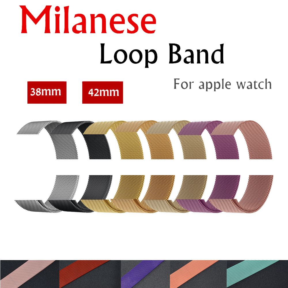 Milanese Loop strap band For Apple Watch 42mm/38mm iwatch 3/2/1 Stainless Steel Link Bracelet wrist watchband magnetic buckle все цены