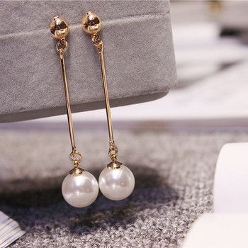 Korean Star The Same Paragraph Fashion Imitation Pearl Tassel Earrings Wholesale Jewelry Earrings Female Long Section Vintage image