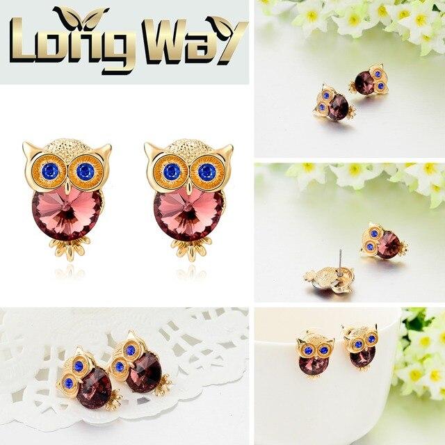 toucheart новые брендовые серьги с кристаллами в виде совы для фотография