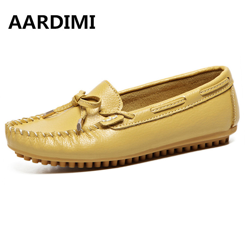 Top Quality spring loafers women genuine leather shoes slip on women flats shoes fashion solid flat