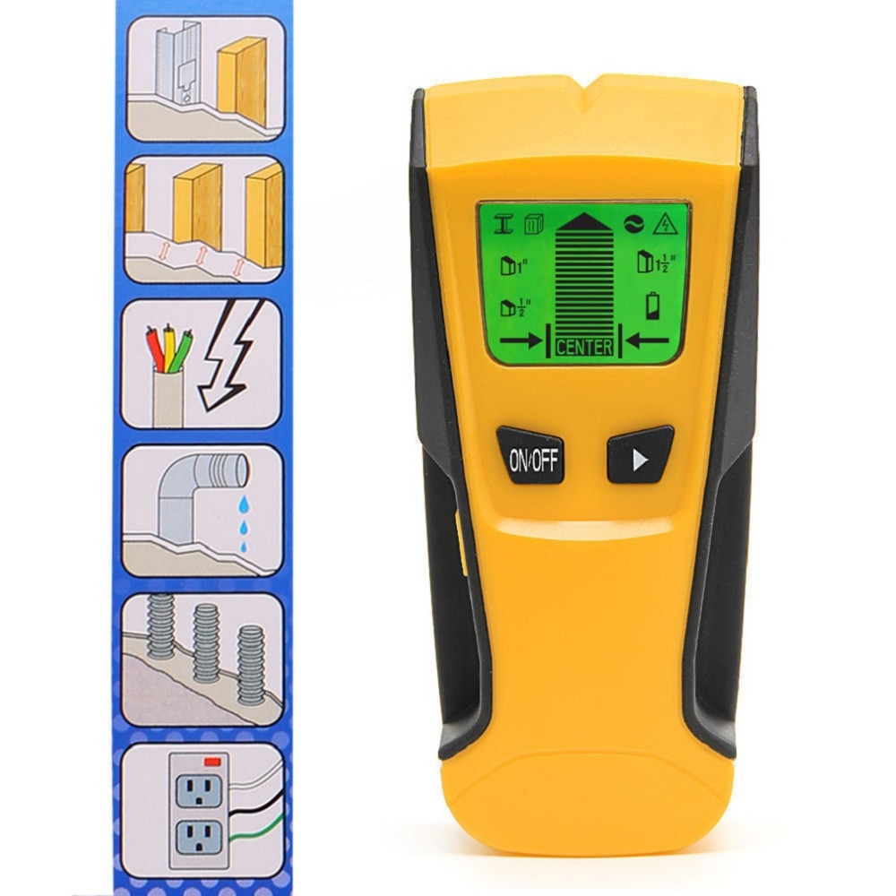 ST250 3-in-1 Wood Studs Finder Metal Detector Backlight LCD Portable Handheld AC Live Wire Detector Wall Scanner