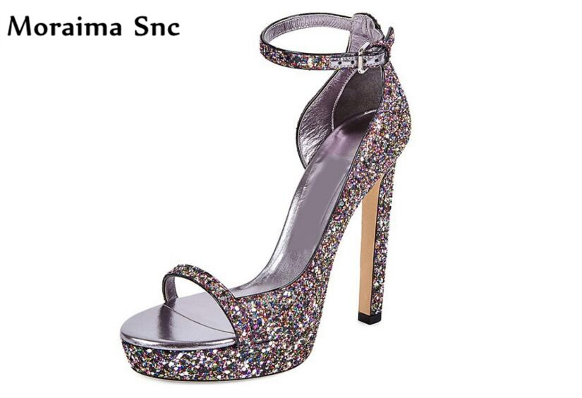 Moraima Snc colorful bling pumps open toe high heel platform Ankle strap Buckle party shoes PU leather concise type party shoes moraima snc newest sexy women black string bead concise type sandals open toe thin high heel ankle strap hook solid party shoes