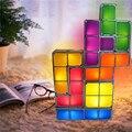 Puzzle tetris lâmpada led bloco de cama mesa construtível empilhável decorativo pequeno night light novelty cubo mágico de presente de natal