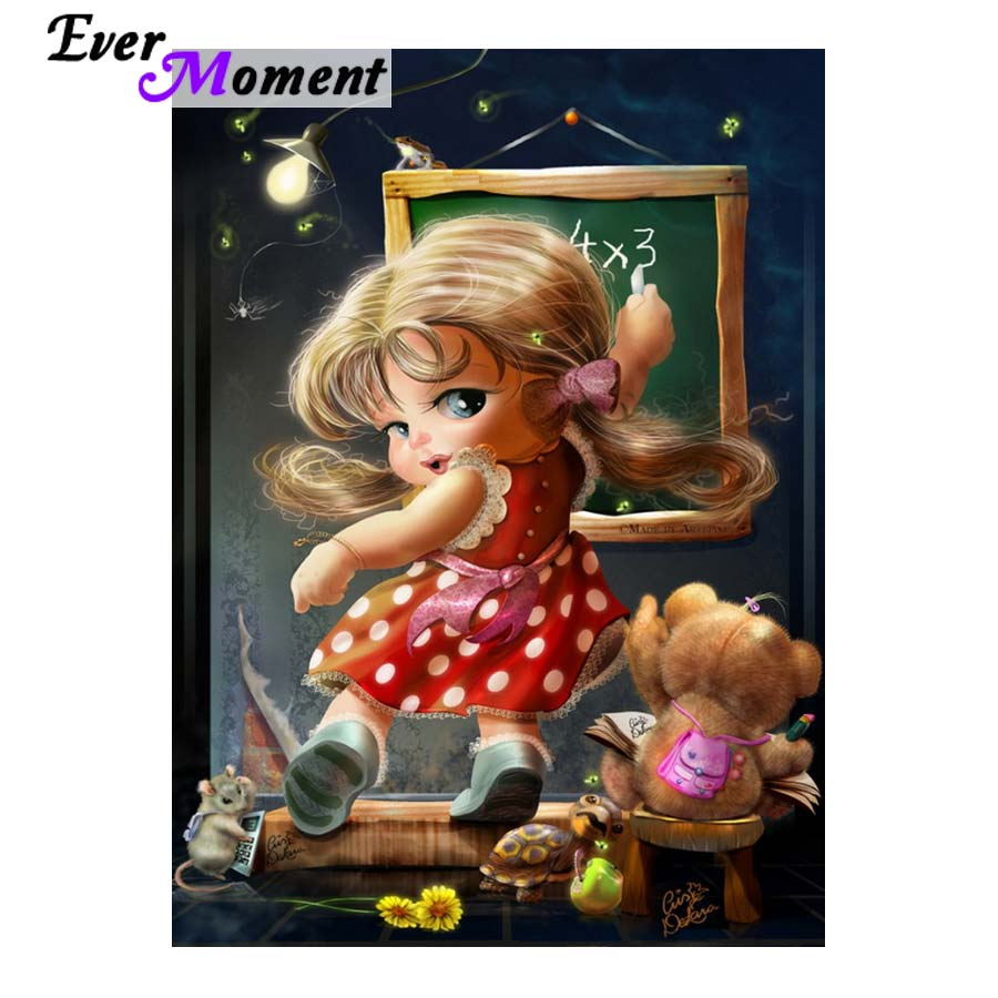 Ever Moment Full Diamond Painting Strass Little Girl and Toys Embroidery Rhinestone Cartoon Gift for Kids Room Craft DIY ASF886