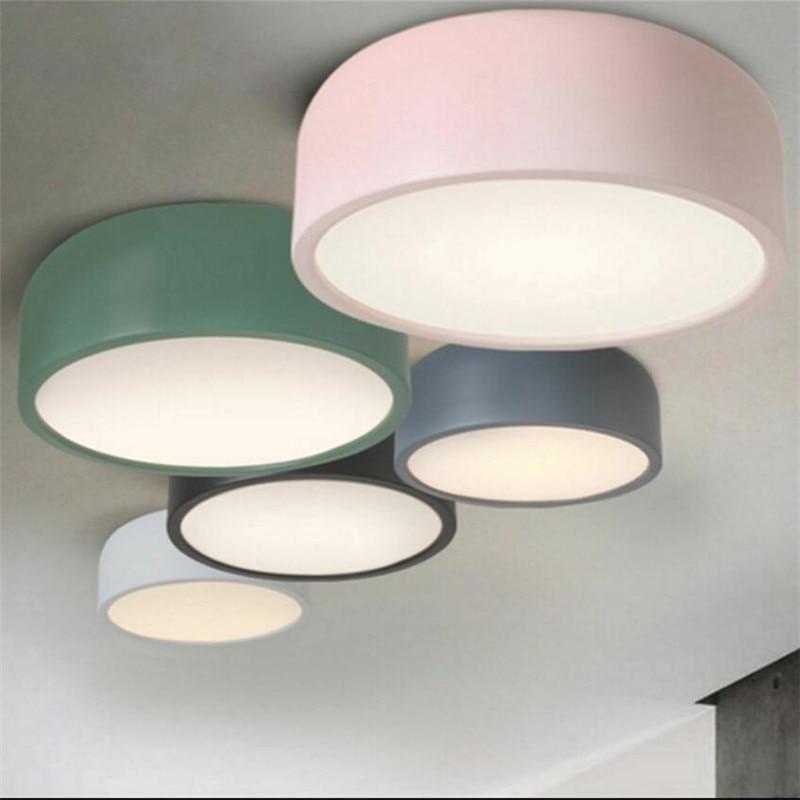 Modern LED Ceiling lamp metal Ironware Acrylic colorful iron light Children Bedroom indoor lighting decoration light fixture
